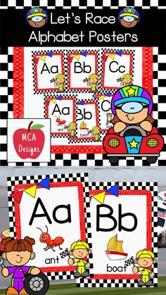 My Let's Race Alphabet Posters feature both capital and lower case letters accented with bright colors and racing themed graphics :) The following alphabet posters are included with this set: posters with letter coordinating images posters without images #teacherspayteachers #tpt #backtoschool #alphabet Classroom Resources, Teaching Resources, Alphabet Posters, Easel Activities, Student Data, Give It To Me, Let It Be, Lower Case Letters, Lowercase A
