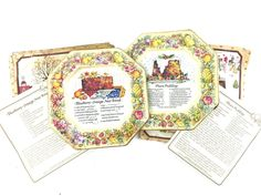 Avon Hospitality Sweets Tin Recipe Plates Collector Plum Pudding & Nut Bread #Avon
