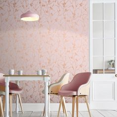 Representative of the fragility and beauty of life, Cherry Blossoms are at the forefront of Meiying Blush design. Pink Velvet Wallpaper, Pink Wallpaper Bedroom, Blush Wallpaper, White Wallpaper, Textured Wallpaper, Living Room Wallpaper Cream, Kitchen Wallpaper, Interior Design Living Room, Design Bedroom
