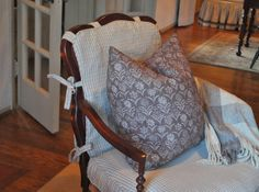 Blue & white check slipcovers for bergere chairs - Nine & Sixteen
