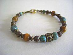 African Turquoise, Tiger Eye, Retro Agate, Antique Brass Accents Men's Bracelet, Unisex Bracelet