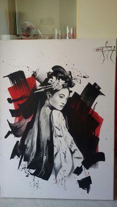 Geisha  Oil in canvas & acrilic  70/50 cm