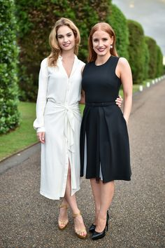 Jessica Chastain and Lily James and at the Kensington Palace on June 25, 2015.