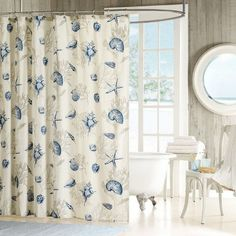 Beautiful coastal shower curtain with blue seashells and starfish and gray coral:  http://www.completely-coastal.com/2016/01/coastal-beach-shower-curtains.html