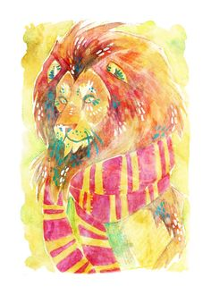 "Gryffindor Watercolor Illustration 5"" x 7"" Colorful Hogwarts Art Print"