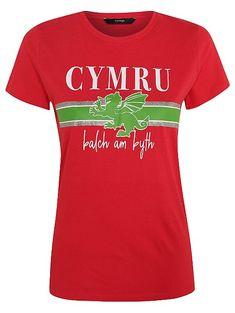 Red Welsh Dragon Short Sleeve Slogan T-Shirt Clothes 2019, Casual Clothes, Casual Outfits, Clothes For Women, Welsh Dragon, Asda, Latest Fashion Trends, Slogan, Sleeve