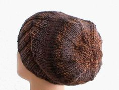 Brown slouchy hat, ribbed brimmed beanie, taupe, chocolate, brown, espresso, caramel, tweed striped hat, watch cap, men's hat, women's hat
