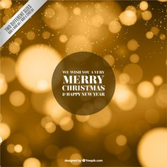 Golden christmas background in blurry style Free Vector