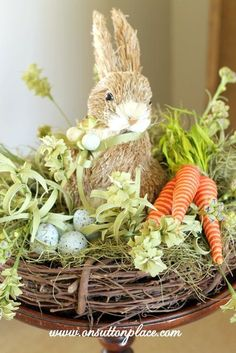 Easy Nesting Bunny How To. The bunny and carrots are from /pier1imports/ but similar elements can easily be found at craft stores. So cute and super simple!