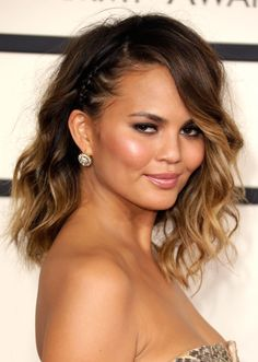 Editorial and Celebrity Hair Stylist, Giannandrea styled Chrissy Teigen  for the 2014 Grammy Awards using Macadamia Natural Oil products.
