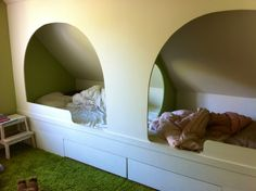My friend Nicola's shared childrens room. Love the bed nook!