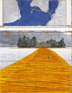 """New project Christo and Jeanne-Claude, """"The Floating Piers"""".  The project is for Italy's Lake Iseo tucked into the Alps northeast of Milan, and will be open to the public this year from June 18 to July 3."""