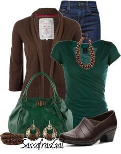 Emerald and brown....hmmmm this is awesome! Love the necklace detail, the wrap shirt, the heeled shoe...