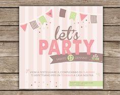 #lovely #party #invitation in pink! It's so #sweet! Delizioso e dolcissimo #invito di #compleanno! Mi fa pensare ad un profumatissimo negozio di caramelle!