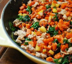 Skillet Sweet Potato, Sausage, and Spinach Hash    http://www.multiplydelicious.com/thefood/2012/01/skillet-sweet-potato-sausage-and-spinach-hash/
