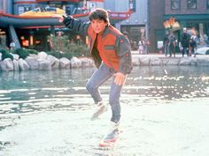 "Michael J. Fox hoverboards in ""Back to the Future Part II"""