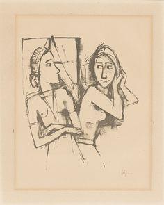 """1114 Karl Hofer Karlsruhe 1878 – 1955 Berlin  Aus: """"Zenana"""". 1923 Lithografie auf Bütten. 25,2 × 21,3 cm (37,9 × 30,3 cm) (9 ⅞ × 8 ⅜ in. (14 ⅞ × 11 ⅞ in.)) Signiert. Werkverzeichnis: Rathenau 179. Blatt 7 (von 10) aus der Folge. München, Verlag der Marées-Gesellschaft, 1923 (mit dem Prägestempel). X  [3439]  EUR 300 – 400 USD 353 – 471"""