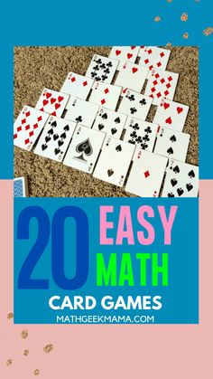 Math Card Games for Kids - an amazing resource for all math teachers - easy math games for all ages - and you just need a deck of cards! You'll get 40 math card games that cover a wide range of math skills #mathcardgames #mathgames #homeschoolmath Easy Math Games, Math Card Games, Card Games For Kids, Math For Kids, Fun Math, Math Math, Math Fractions, Math Classroom, Educational Activities For Kids