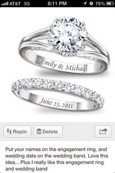 Wedding ring and band.