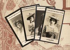 4 Paris Theatre actresses photos /  Cecile Sorel, Lavalliere, Carrer-Xanrof, Marthe Régnier / from a Felix Potin ad photos collection