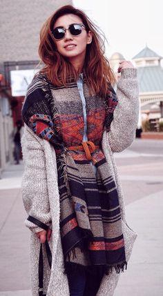 #preppy #fashion /  Cream Cardigan // Striped Coat // Denim Shirt
