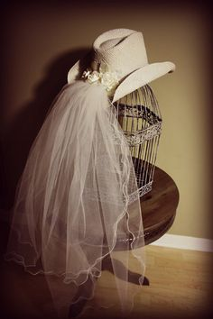 western wedding hats with veils | ... Hat with Veil and Pearl Band-Comes in Ivory or White-Western Themed