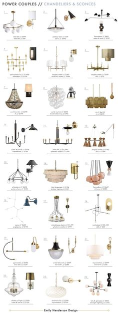 Power Couples: Chandeliers and Sconces – Emily Henderson - Beleuchtung Kitchen Lighting Fixtures, Strip Lighting, Chandelier Lighting, Bathroom Lighting, Chandeliers, Bedroom Light Fixtures, Round Chandelier, Pendant Light Fixtures, Interior Lighting