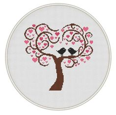 Love tree Сross stitch pattern, Instant Download, Free shipping, Cross-Stitch PDF, Love bird, Valentine's Day, Heart tree, MCS102