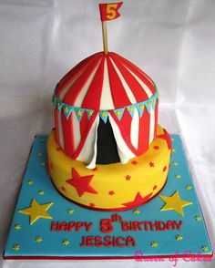Circus theme birthday cake by Queen of Cakes