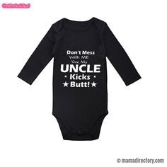 96252dfb9f52  My Uncle Kicks Butt  Black printed Long Sleeve Cotton bodysuit Jumpsuit  Outfit. Newborn GirlsNewborn OutfitsBaby ...