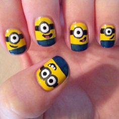 Image via We Heart It #art #funny #minions #nail #nails #polish