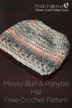 Free Crochet Pattern - An elegant messy bun crochet hat pattern! Perfect for those cooler days when you want to wear a ponytail or messy bun, but also want to stay warm. By Posh Patterns.