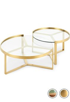 Aula Nesting Coffee Table, Brushed Brass and Glass MADE Nesting Coffee Table, Brushed Brass & Glass. Aula Coffee Tables Collection from MADE. Brass Coffee Table, Coffee Table Design, Nesting Coffee Table, Small Coffee Table, Metal Furniture, Table Furniture, Living Room Grey, Living Room Decor, Gold Home Decor