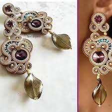 Soutache Earrings Handmade Earrings Hand Embroidered by LaviBijoux Soutache Earrings, Ring Earrings, Earrings Handmade, Handmade Jewelry, Wire Rings, Micro Macrame, Ribbon Embroidery, Leather Earrings, Shibori