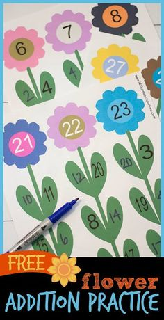 FREE Flower Number Bonds is such a fun math activity for kindergarten and first grade kids to practice addition.perfect for spring math center #mathgame #mathpractice #firstgrademath #1stgrade #addition #additionpractice