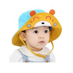 Gemini Fairy Sun Protection Hat Bear Diver Bucket Cap with Wide Brim for  Lovely Baby (1-3 year old) (Blue). Visor HatsEar ... 7305f491e881
