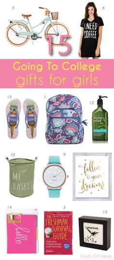 off to college gift ideas for girls. dorm room ideas, school supplies, college outfit, self help book and more.