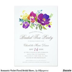 Romantic Violet Floral Bridal Shower Invitation. Personalize with your own details, quickly, easily, with automatic name changer template. 30 Day Money Back Guarantee. Ships Worldwide fast.
