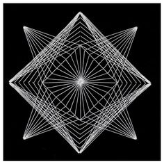 United Art and Education Art Project: This project shows you how to make intricate Geometric String Art with just card stock, a needle and white string.