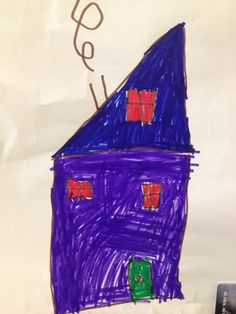 A marker drawing of a house, made by Bent, 5 years old • Art My Kid Made #kidart