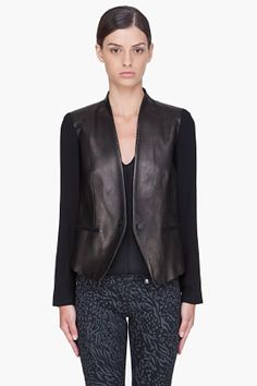 JACKET  Rag & Bone Black Leather Pascal Blazer for women | SSENSE