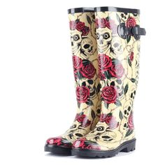53.50$  Watch now - http://ali7ru.shopchina.info/go.php?t=32263582319 - 2017 Fashion Rose Printed Women Water Shoes High Quality Female Rubber Waterproof Boots Rain Boots Wellies chaussure femme  #buyininternet
