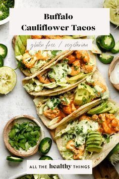 Delicious Buffalo Cauliflower Tacos made with perfectly roasted buffalo cauliflower, a cool and crunchy cilantro lime slaw, and all of your favorite toppings. These tacos are filling, delicious, and make a great quick and easy weeknight dinner! Veggie Tacos, Healthy Tacos, Good Healthy Recipes, Veggie Recipes, Lunch Recipes, Seafood Recipes, Vegetarian Recipes, Gf Recipes, Healthy Choices
