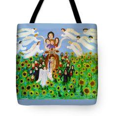 Bringing The Children Home Safely Tote Bag with Folk Art by Louisiana's Catholic Cajun Creole Folk Artist Seaux N. Seau Soileau.