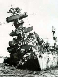 8 in heavy cruiser Admiral Hipper: heavily damaged by RAF bombing in Kiel harbour on 3 May 1945, she was scuttled by her crew at her moorings. Previous war service included the Battle of the Barents Sea in December 1942 and the Norwegian campaign of 1940, during which she was famously rammed by destroyer HMS Glowworm in a Victoria Cross winning action.