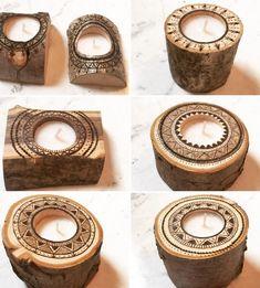 Woodburned log tea light holders *Boho**Rustic*