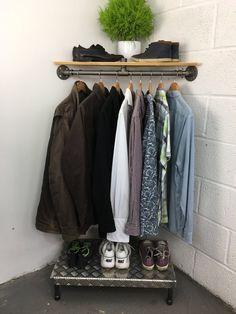 Handmade Urban Industrial Corner Shelf and Clothes Hanging Rail Corner Shelves Bedroom, Diy Corner Shelf, Corner Rack, Corner Storage, Diy Clothes Rail, Hanging Clothes Rail, Hanging Rail, Hanging Storage, Corner Wardrobe