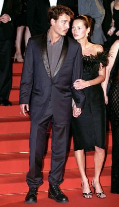 Cannes Retrospective: Kate Moss: 1998. Don't they make a beautiful couple? In the Nineties, Johnny Depp and Kate Moss were Hollywood's hottest pairing. They looked pretty loved up in Cannes in 1998, in matching black ensembles and chiseled features.