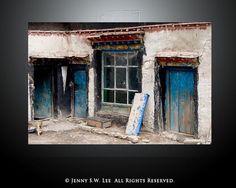 """Blue Doors"" - The Mosaic Fingerprint Archive. Travel Location: Shigatse, Tibet"