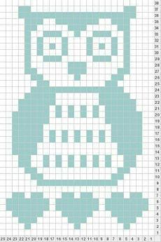 Owl knit chart- I can foresee me wanting this one day. Crochet Cowl Free Pattern, Easy Crochet Patterns, Filet Crochet, Owl Patterns, Bead Loom Patterns, C2c, Owl Baby Blankets, Crochet Simple, Crochet Blocks